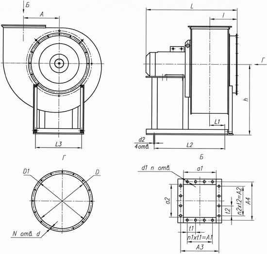 Габаритные и присоединительные размеры вентилятора ВЦ 14-46