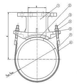 Седло присоединительное фланцевое RAPIDO FL: схема